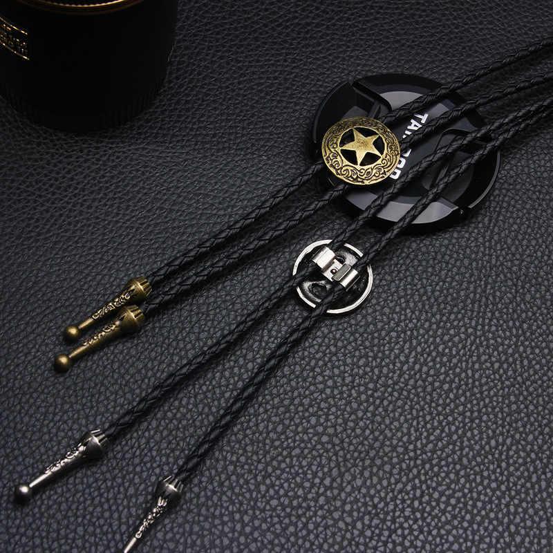 Kişilik moda kolye gömlek kravat severler Neckla Bolo kravat beş köşeli yıldız Bolo papyon dana İnek zinciri erkek kravat