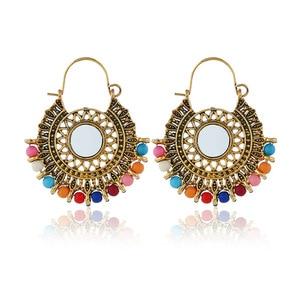 India Jhumka Golden Fringe Women's Earrings Resin Bead Pendant Hippie Tribe Egypt Egypt Nepal Gypsy Oorbellen feamle Jewelry(China)