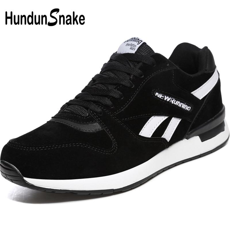 Hundunsnake Black Leather Man Sneakers Men Summer Women's Running Shoes Men Sport Shoes Men's Sports Shoe Athletic Krasovki T620