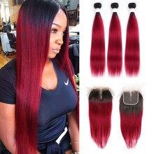 T1B/бордовые человеческие волосы, пучки с застежкой, 4x4, SOKU, бразильские прямые волосы с эффектом омбре, пупряди с застежкой, волосы без повреж...