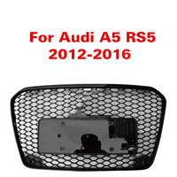 For Audi A5 RS5 12 16 Front Sport Hex Mesh Honeycomb Hood Grill Gloss Black For RS5 Style 2012 2013 2014 2015 2016 Racing Grills
