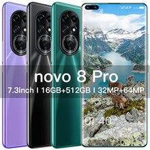 2021 novo nova8 pro smartphone hua nós 16gb 512gb 5g 7.3 Polegada android 10.0 6800mah deca núcleo 32 + 64mp versão global celular