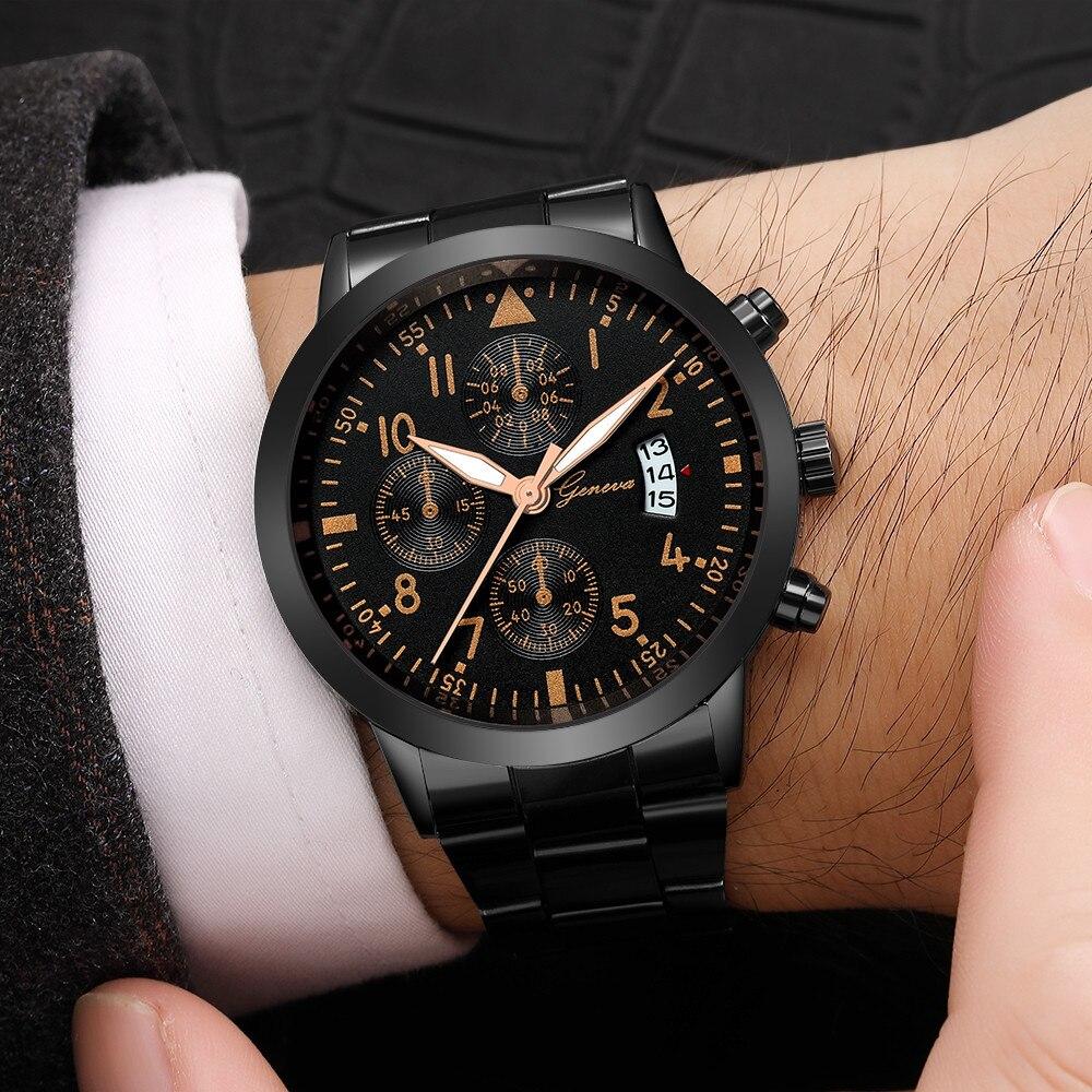 Geneva Life Waterproof Men's Dress Watch Business Watches Men Steel Band Auto Date Wristwatch 3 Dial Male Clock Erkek Kol Saati