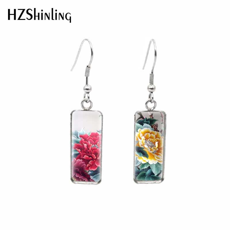 2020 New Rectangular Earring Silver Color Beautiful Peony Flowers Painting Hook Earrings Glass Jewelry Nature Leaves Artwork