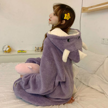 Coral fleece Pajamas Autumn and Winter Robes Thickened Plus Velvet Long Cute Cartoons Dinosaur Fashion Home Service Two-piece