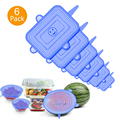 6PCS Square Silicone Food Fresh Lids Kitchen Silicone Caps Food Cover Adjustable Stretch Bowl Lids Cookware Accessories