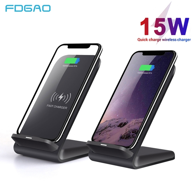 FDGAO 15W Qi Wireless Charger 10W Quick Charge สำหรับ iPhone 11 XS XR 8 X Airpods Pro USB C สำหรับ Samsung S20 S10