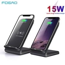 Fdgao carregador sem fio qi 10w, carregador rápido 15w, suporte para iphone 11, xs, xr, 8, x, airpods pro carregamento rápido usb c para samsung s20 s10