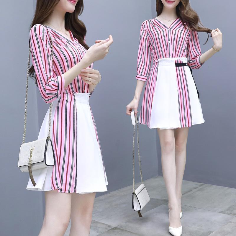 ICHOIX Spring Summer 2 Piece Set Chiffon Dress Women 2 Piece Outfits Korean Style Clothing Red Striped Mini Dress Skirt Set