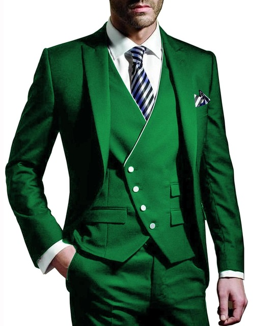 Brand Suit For Men 2019 Slim Fit 3 Pieces Classic Groom Tuxedo For Wedding Prom Suits Jacket Custom Green Blazer Pants Vest Set