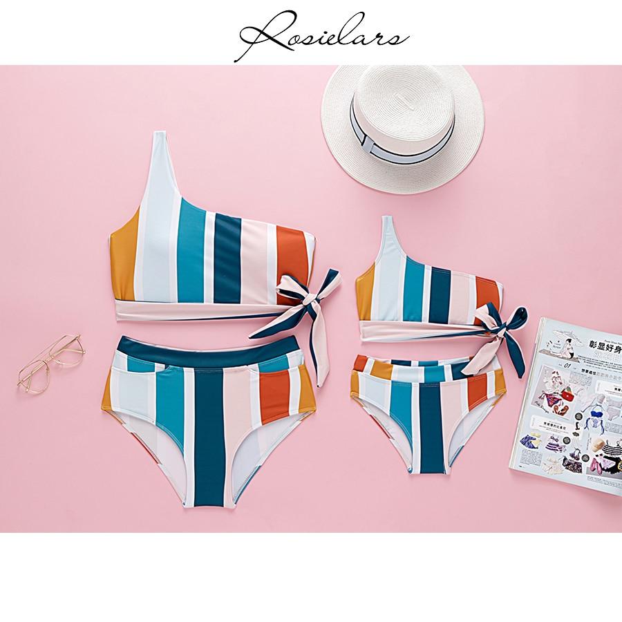 2019 ROSIELARS Family Matching Swimsuit Women And Girls Ruffled Floral Two Piece Swimwear Bathing Bikini High Waist Beachwear