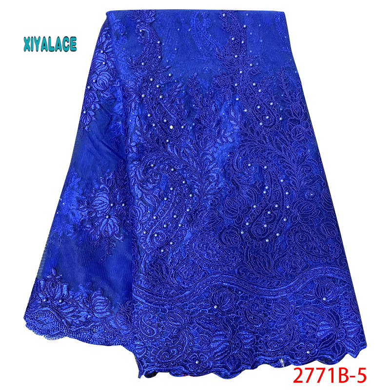 Blue Nigerian 2019 Embroidered Net Lace Fabric African Lace Fabric Beads Lace Fabric  Bridal High Quality French Tulle YA2771B-5