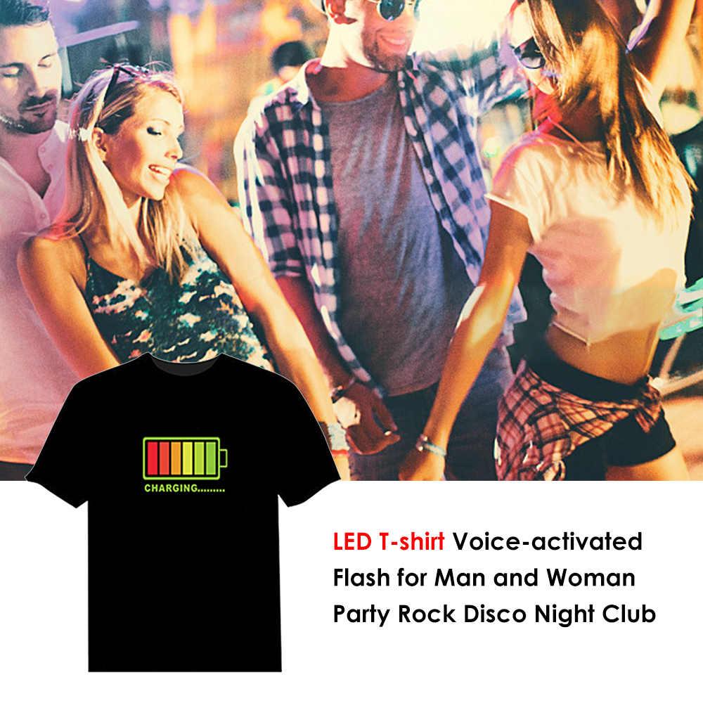 LED เสื้อยืดผู้ชาย Party Rock DISCO DJ เสียงเปิดใช้งาน LED T Shirt 2019 ขายร้อน Light Up และ Down กระพริบ equalizer ผู้ชาย TShirt