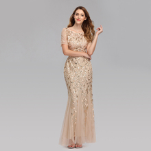Prom-Dress Short-Sleeve Party-Gowns Evening-Dresses Robe-De-Soiree Tulle Appliques Mermaid