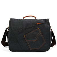 MEN'S Messenger Bag Multi functional Canvas Casual Shoulder Bag Retro Wear Resistant Tablet PC Bag Large Capacity Messenger Bag