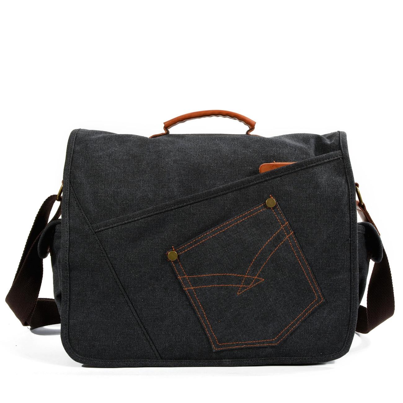 Sac à bandoulière décontracté en toile multi-fonctionnelle pour hommes sac à bandoulière rétro résistant à l'usure pour tablette PC sac de grande capacité