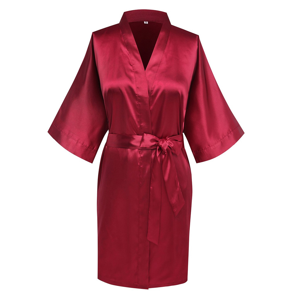 Intimate Lingerie Home Clothes Dress Satin Women Sleepwear Nightgown Kimono Bathrobe Sexy Bride Bridesmaid Wedding Robe Burgundy