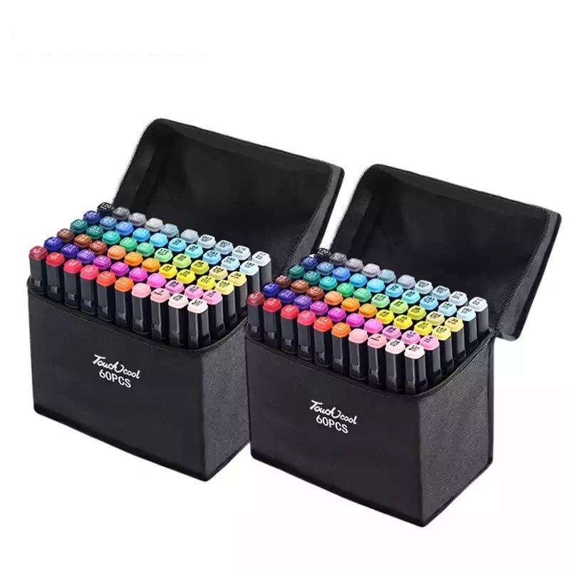 Marker Pen Set 30/40/60/80/168 Color Sketch Marker Dual Tip Drawing Art Brush Pens Alcohol
