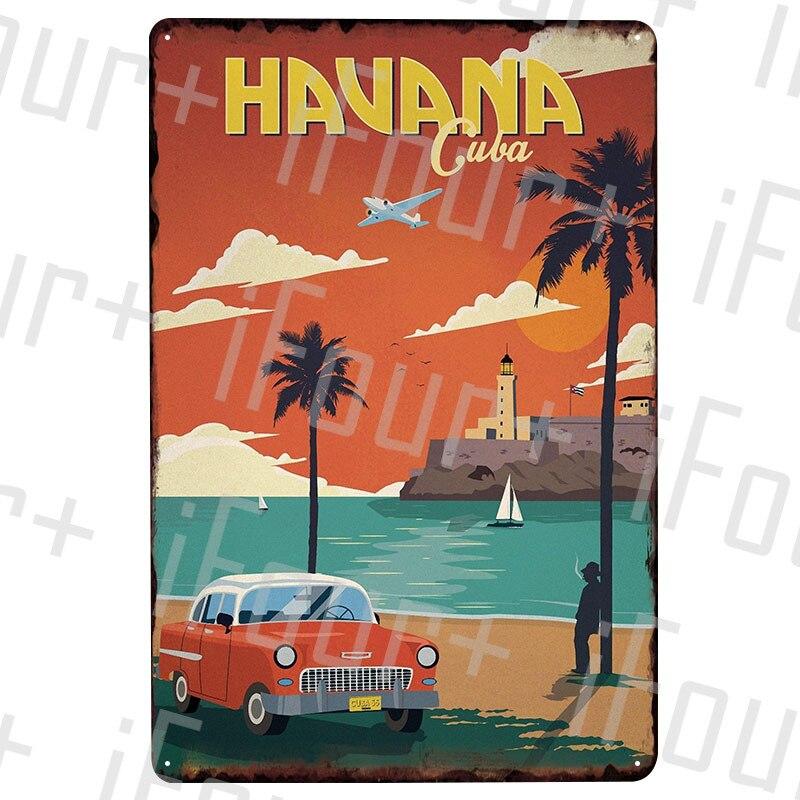 Havana Cuba Metal Plate Tin Sign Plaque Metal Vintage Decor Metal Sign Metal Poster Home Bar Pub Cafe Decoration Vintage Posters