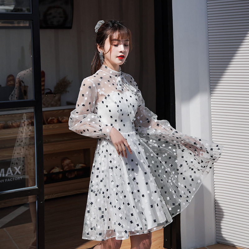Short Yarn Tulle Summer Sexy Evening-dress Elegant Noble Banquet Host Prom-dress Daily Wear Casual Princess Dress Fashionable