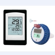 اللاسلكية تجمع ميزان الحرارة حوض استحمام ساخن المنزل السباحة سبا المياه مقياس الحرارة التقويم ساعة تنبيه 40 ~ 60C مقاوم للماء خارج الاستشعار