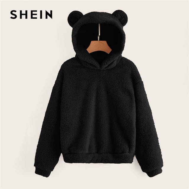 US $13.0 40% OFF|SHEIN Preppy Lovely With Bears Ears Solid Teddy Hoodie Pullovers Sweatshirt Autumn Women Campus Casual Sweatshirts in Hoodies &