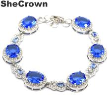 32x14mm Fantastic Created Rich Blue Violet Tanzanite White CZ Woman's Present Silver  Bracelet 7.5-8.5in