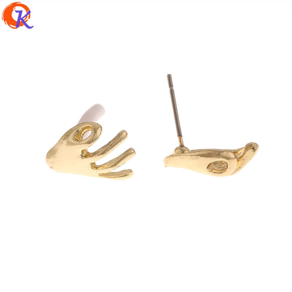 Cordial Design 100Pcs 10*13MM Jewelry Accessories/Earring Findings/Palm Shape/Hand Made/Jewelry Making/Earrings Stud/DIY Parts
