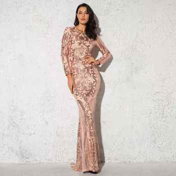 Gold Elegant Full Sleeved O Neck Sequined Evening Party Dress Stretch Floor Length Lining Bodycon Burgundy Black Maxi Dress - DISCOUNT ITEM  25% OFF All Category