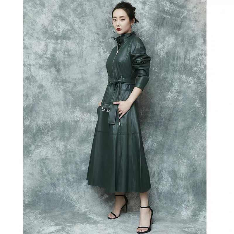 Genuine leather trench coat for women long coat 2019 autumn and winter fashion women clothing dermal leather jacket female