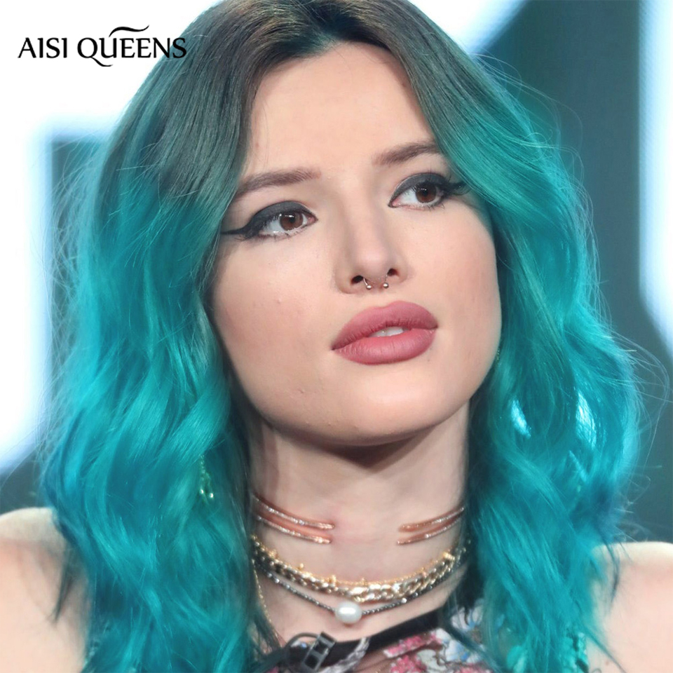 AISI QUEENS Synthetic Ombre Wig Short Water Wave Blue Black Pink Natural Wigs For  Black White Women's 14