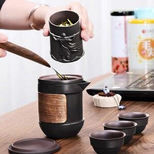 Image 2 - Yixing fioletowy piasek zestaw herbaty czarny/czerwony ceramiczny czajniczek kung fu gaiwan fioletowy piasek czajniczek filiżanka herbaty ceremonia podróży przenośne Teaset