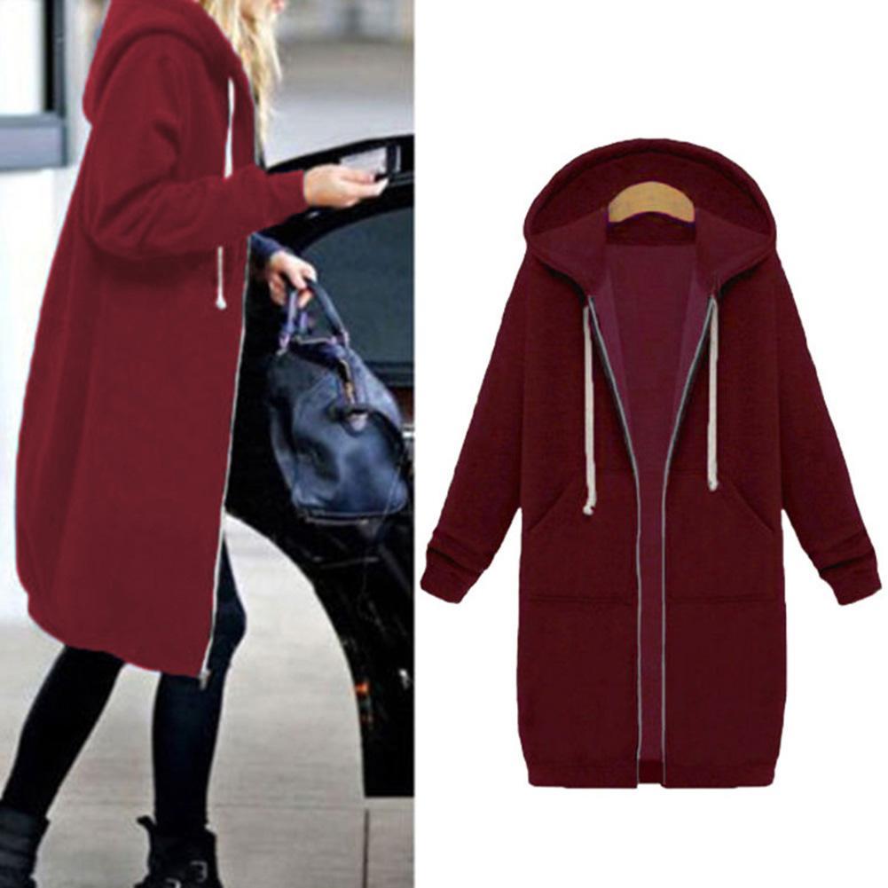 Chic Lady Solid Color Long Sleeve Casual Hooded Sweatshirt Coat Zipper Outwear