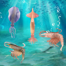 Simulated Squid Lobster Model Toy Ocean Sea Animal Bathtub Toy For Kids Gift Simulation Marine Life Figure Educational Toy(China)