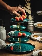 European Bone China Triple Decker Plates Fruit Dishes Cake Plate Candy Dish Ceramic Tray Porcelain Tableware Decoration Dropship