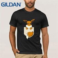 Kawaii Pocket fox T-Shirt Men Cute Pokemon Eevee T Shirts For Male Short Sleeved Top Hipster Lovely Animal Designer Suprem Shirt