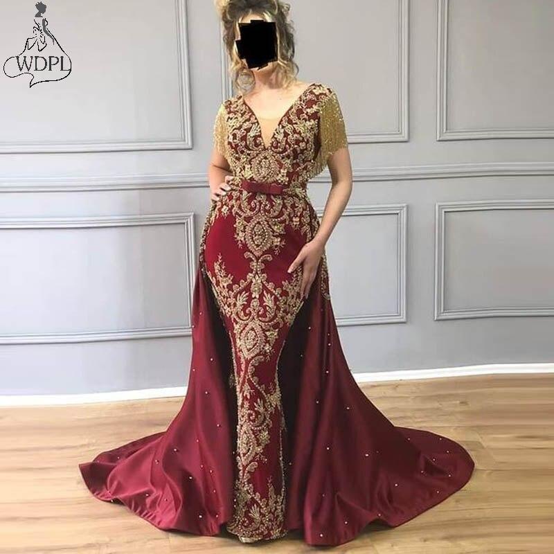 Dubai Arabic Burgundy Overskirts Evening Dress Mermaid Gold Lace Applique Tassel Elegant Prom Dresses With Detachable Train Gown