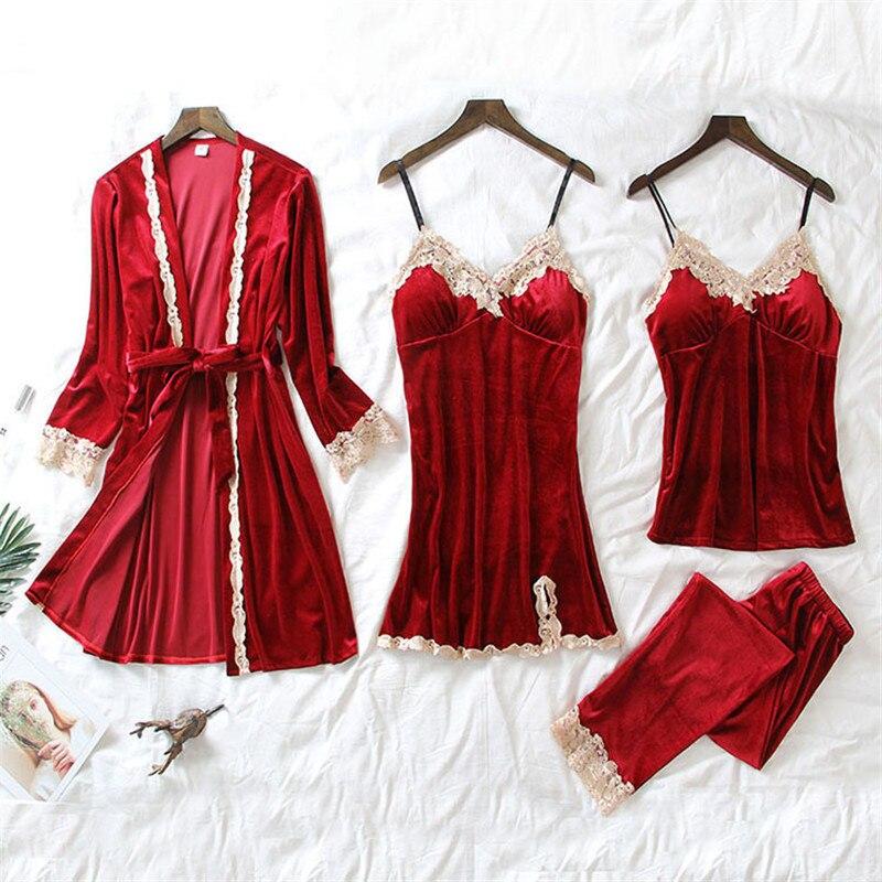 JULY'S SONG 4 Pieces Velvet Warm Pajamas Set Women Sexy Lace Sleepwear Pajamas Suit Winter Sling Nightdress Woman Nightwear