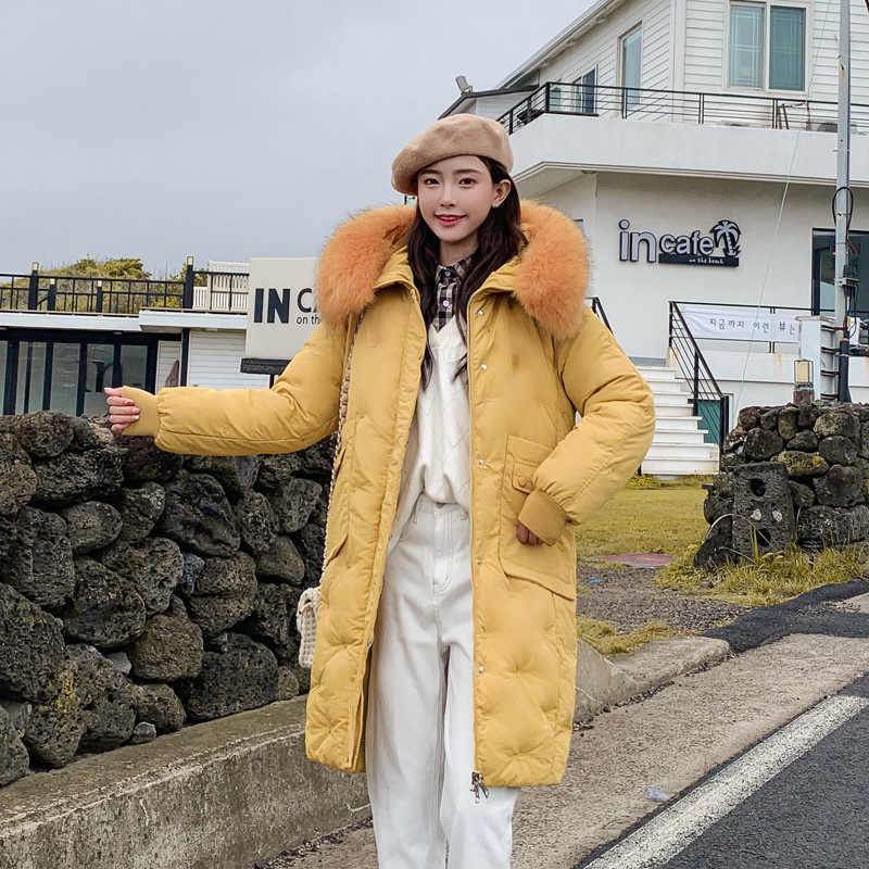 KMVEXO 2019 Mode Vrouwen Winter Jas Katoen Gewatteerde Warm Thicken Dames Lange Jassen Grote Bontkraag Parka Vrouwen Jassen