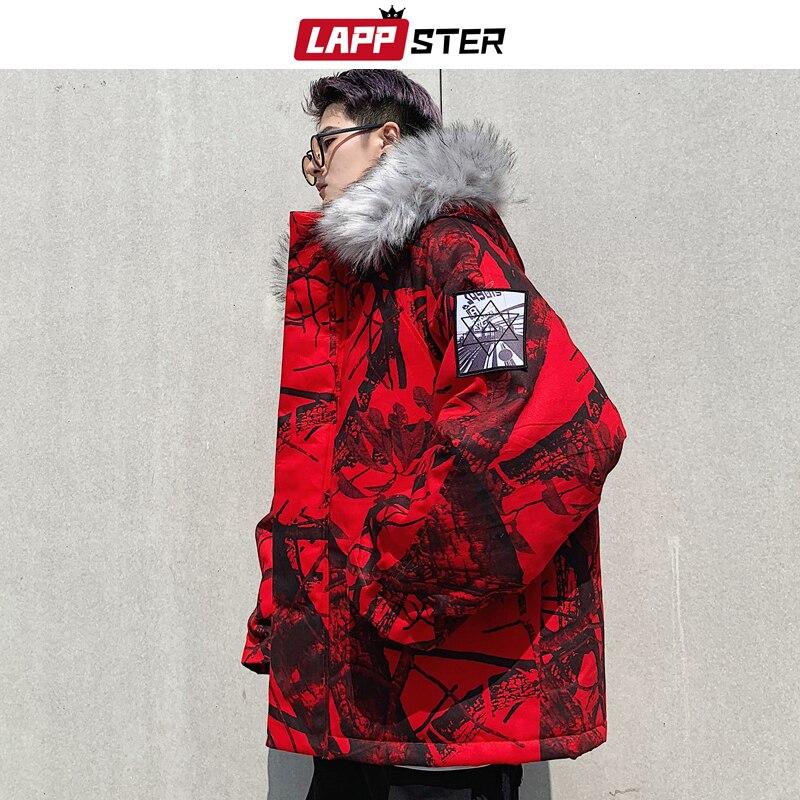 LAPPSTER Men Streetwear Winter Bomber Jacket 2019 Mens Fashions Windbreaker Hip Hop Parka Hooded Jackets Coats Camo Clothing
