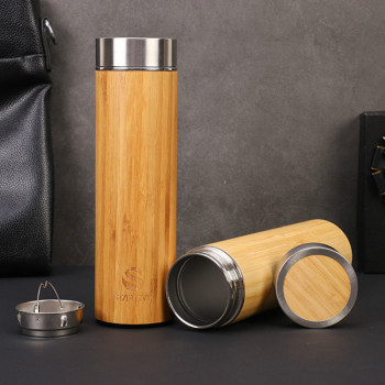 1PCS Creative 500ml Bamboo Wood Thermos Cup 304 Stainless Steel Morning Water Bottles Wood Grain Bamboo Car Gift Cup 1
