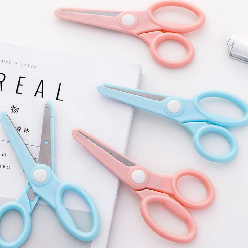1 Pcs Kawaii Candy Color Child Safety Craft Scissors Stainless Steel Stationery Scissors Office School Hand Cut Gifts