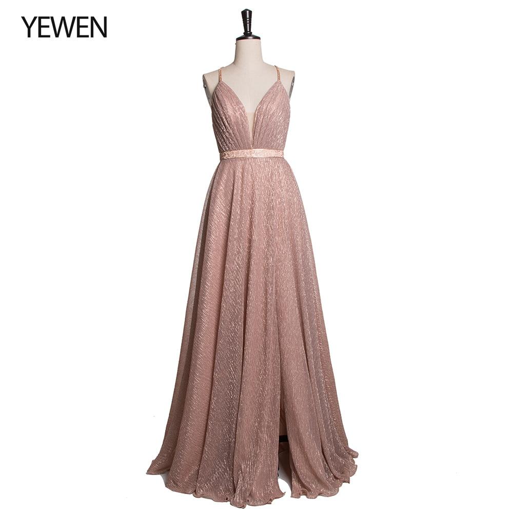 Sexy Backless Cross A-Line Long Evening Dresses 2019 V Neck Split Champagne Pink Prom Dress Gown Vestidos De Festa