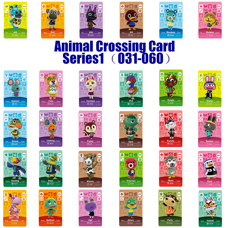 Series 1 (031 to 060) Amiibo Animal Crossing Card Work for NS Games Amibo Switch Rosie Welcome Stickers New Horizons NFC(China)