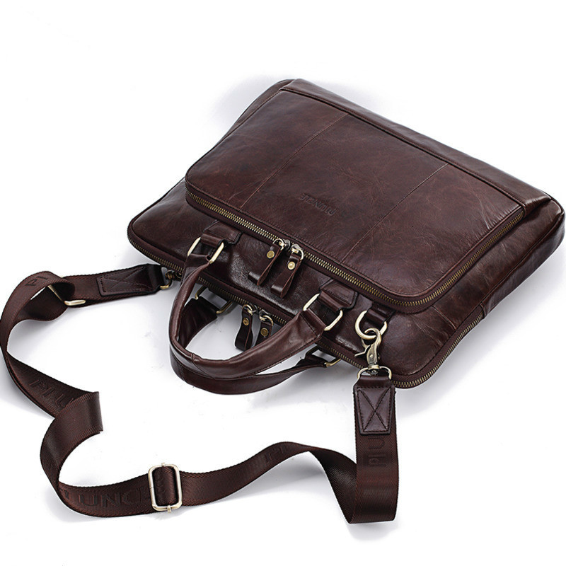 """New Men's Genuine Leather Laptop Handbags Men Leather Crossbody Bags For Apple Macbook Laptophoes 14"""" Inch Notebook Computer Bag"""