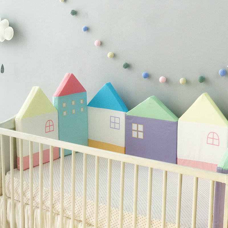 Newborn Baby Bed Bumper Crib Protector Little House Pillow Cushion Bed Fence Kids Room Decoration Infant Baby Cot Bumpers