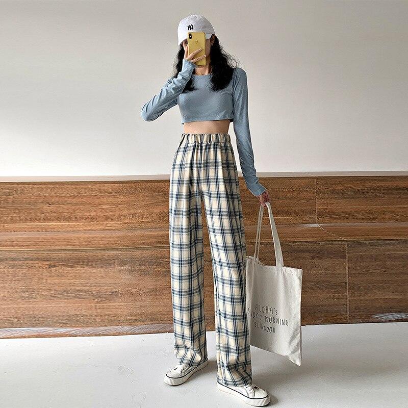 2021 на лето и весну для женщин с высокой талией широкие брюки для девочек в винтажном стиле; Клетчатые брюки с принтом на каждый день в Корейс...