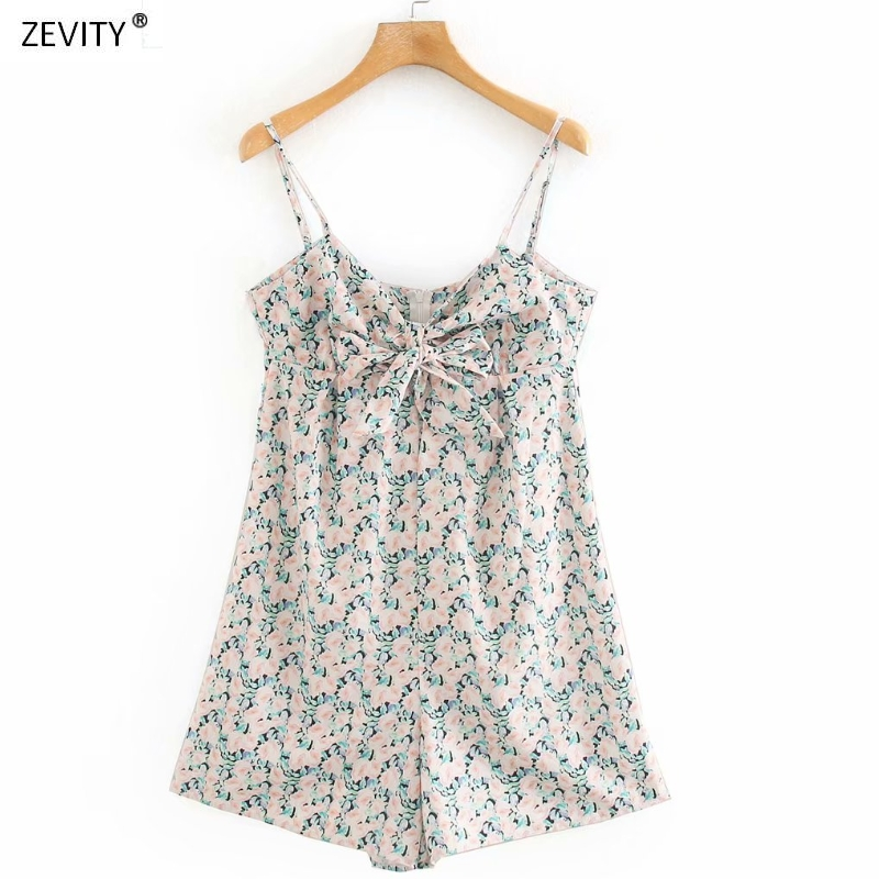 New 2020 women sweet bow decoration floral print sling playsuits ladies casual slim zipper Conjoined shorts chic siamese DS3951