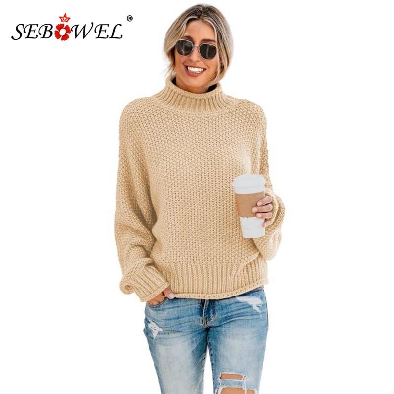 SEBOWEL Casual Classic Women Oversized Sweaters Winter Warm Solid Chunky Long Sleeve Turtleneck Sweater Warm Female Pullover Top