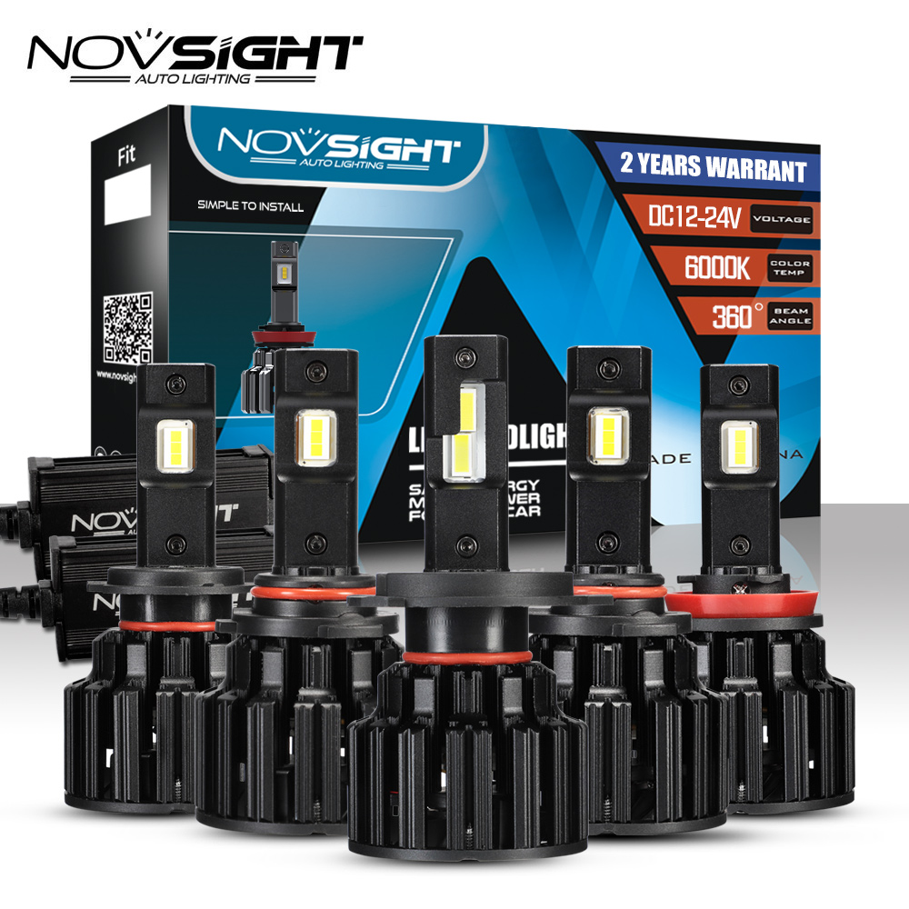 NOVSIGHT Car Headlight H4 Hi/Lo Beam <font><b>LED</b></font> <font><b>H7</b></font> H8 H9 H11 9005/HB3 9006/HB4 100W <font><b>20000LM</b></font> <font><b>6000K</b></font> Auto Headlamp Fog Light Bulbs image